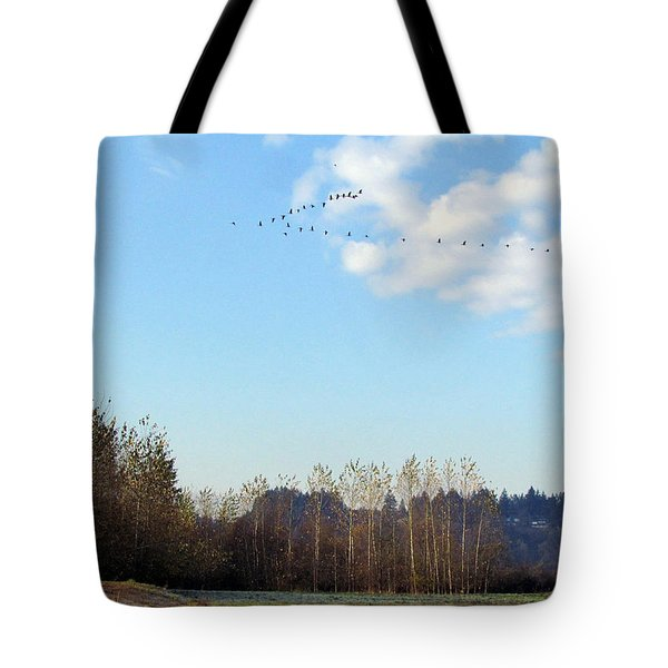 Tote Bag featuring the photograph A Gaggle Of Cacklers by I'ina Van Lawick