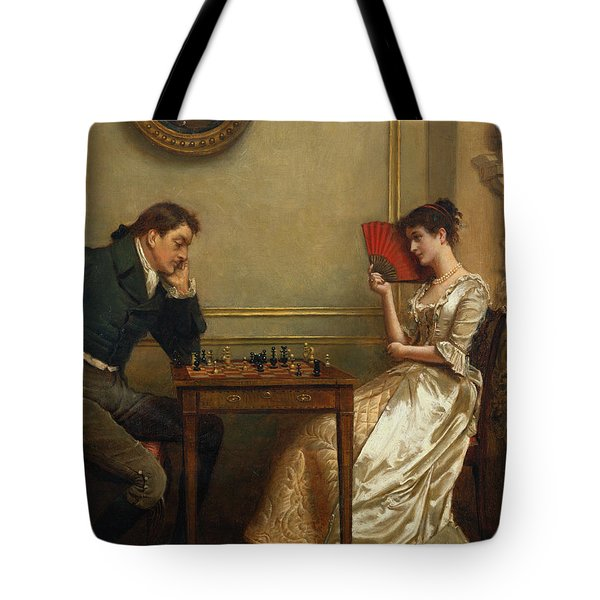 A Game Of Chess Tote Bag by George Goodwin Kilburne
