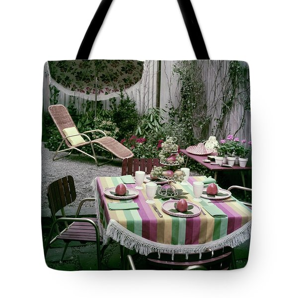 A Garden Set Up For Lunch Tote Bag