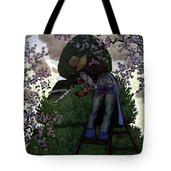 A Gardener Pruning A Tree Tote Bag