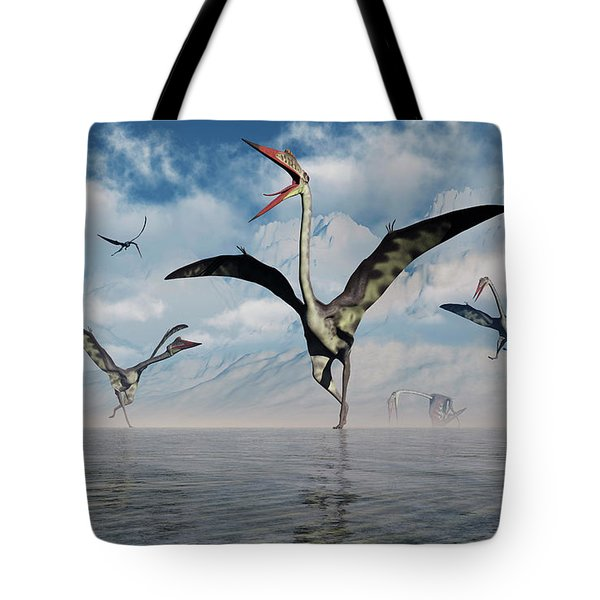 A Gathering Of Large Quetzalcoatlus Tote Bag