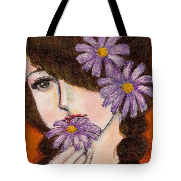 A Girl With Daisies Tote Bag by Jingfen Hwu