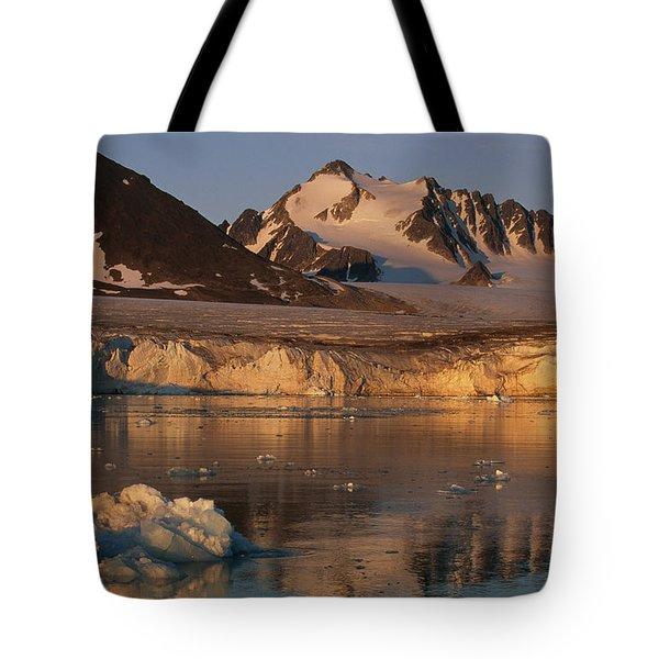 A Glacier Flowing Into A Fjord Tote Bag