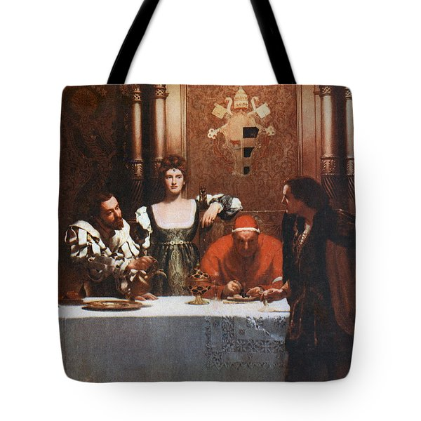 A Glass Of Wine With Caesar Borgia Tote Bag by Philip Ralley