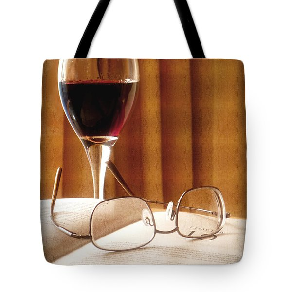 Tote Bag featuring the photograph A Good Book And A Glass Of Wine by Lucinda Walter