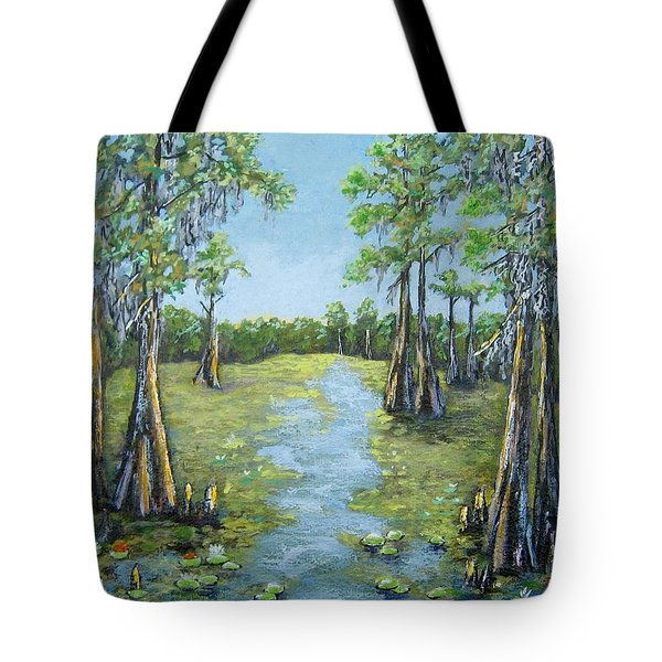 Tote Bag featuring the painting A Good Day For Fishing by Suzanne Theis