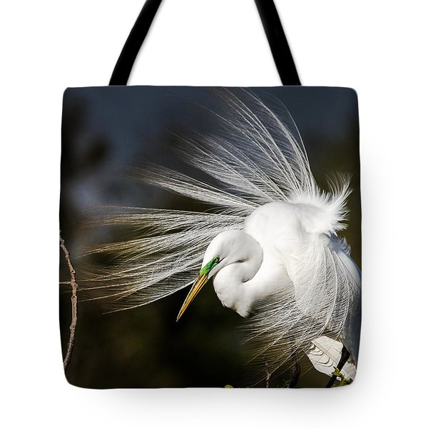 A Great Egret On A Windy Day Tote Bag