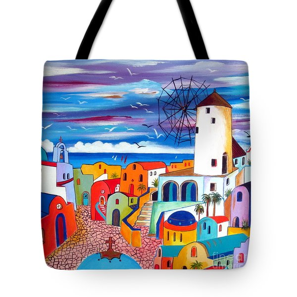 A Greek Mill And The Colors Of Oia Santorini  Tote Bag