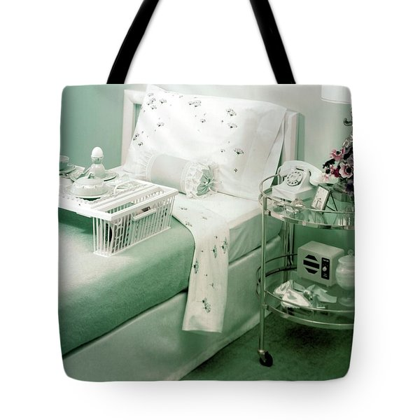 A Green Bedroom With A Breakfast Tray On The Bed Tote Bag