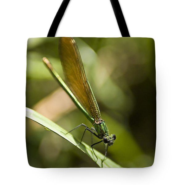 Tote Bag featuring the photograph A Green Dragonfly by Stwayne Keubrick