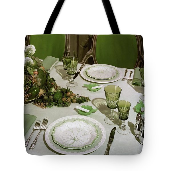 A Green Table Setting Tote Bag