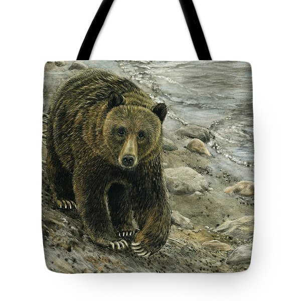 Tote Bag featuring the drawing A Grey And Grizzly Day by Sandra LaFaut
