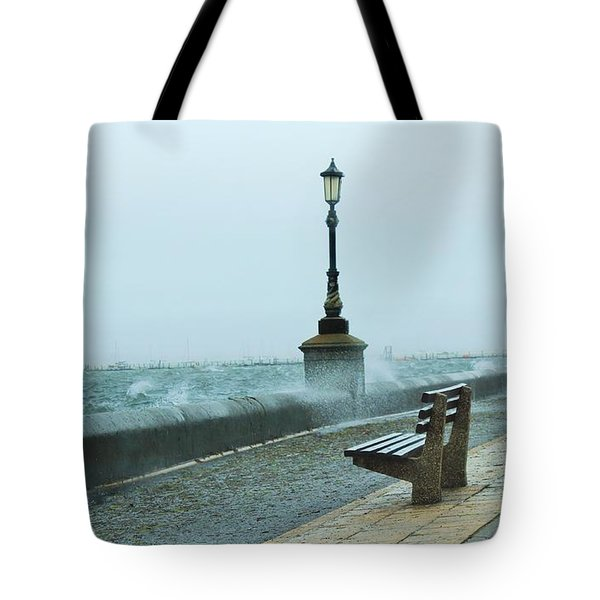 A Grey Wet Day By The Sea Tote Bag
