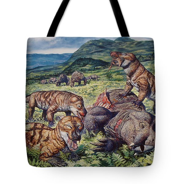A Group Of Carnivorous Cynognathus Prey Tote Bag