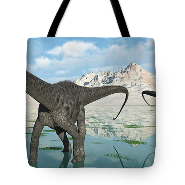 A Group Of Diplodocus Dinosaurs Grazing Tote Bag by Mark Stevenson