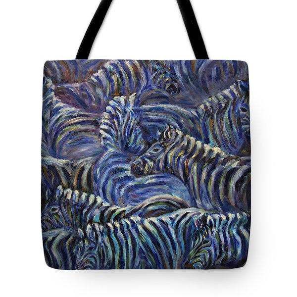 Tote Bag featuring the painting A Group Of Zebras by Xueling Zou