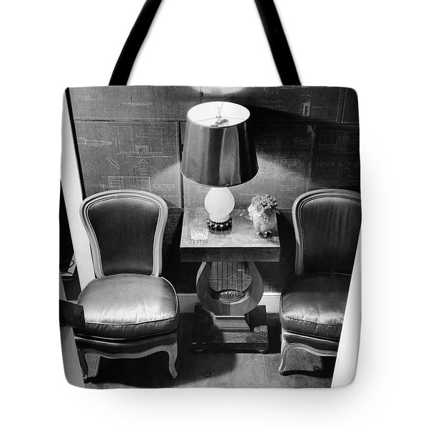 A Hallway With Blueprints Tote Bag