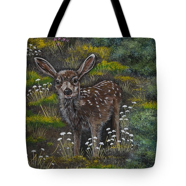 Tote Bag featuring the painting A Happy Fawn by Jennifer Lake