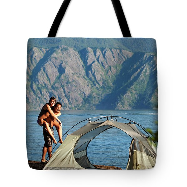 A Happy Young Adult Couple Smile Tote Bag