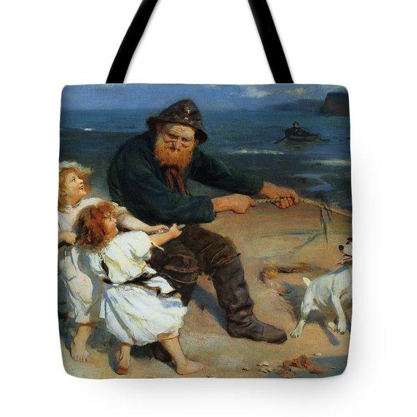 A Harbor Scene Tote Bag by Arthur John Elsley