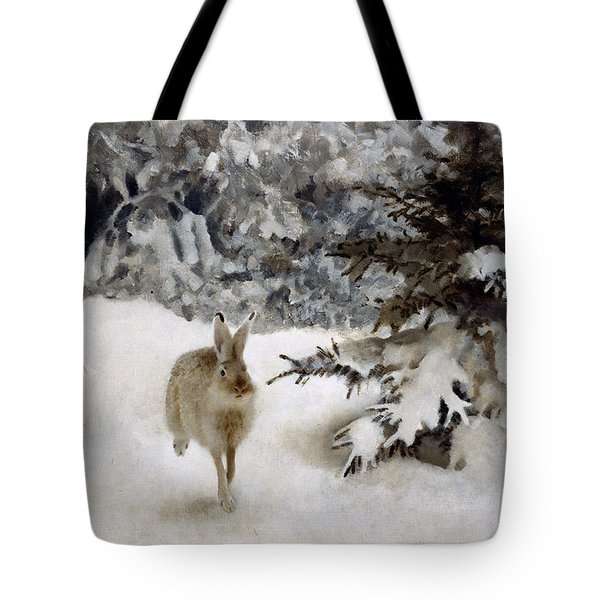 A Hare In The Snow Tote Bag