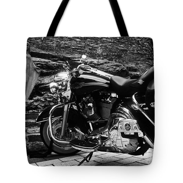 A Harley Davidson And The Virgin Mary Tote Bag by Andy Prendy