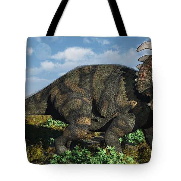 A Herd Of Albertaceratops Tote Bag by Mark Stevenson