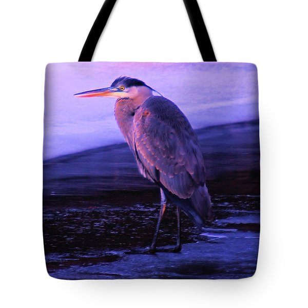 A Heron On The Moyie River Tote Bag by Jeff Swan