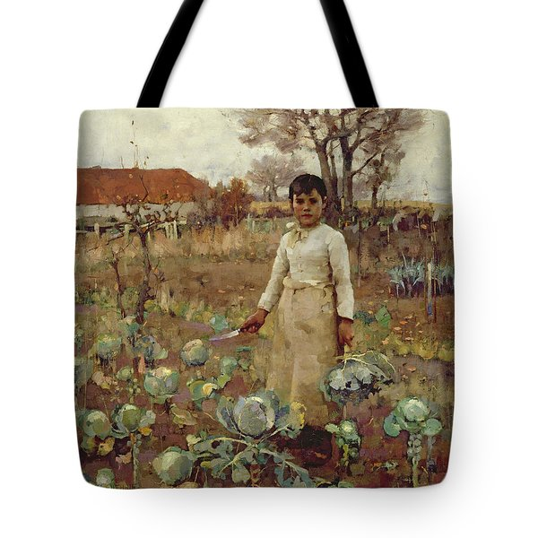 A Hinds Daughter, 1883 Oil On Canvas Tote Bag by Sir James Guthrie
