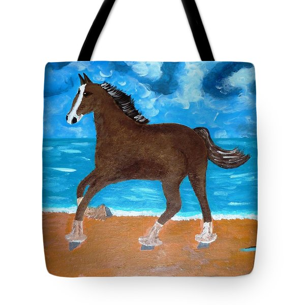 Tote Bag featuring the painting A Horse On The Beach by Magdalena Frohnsdorff