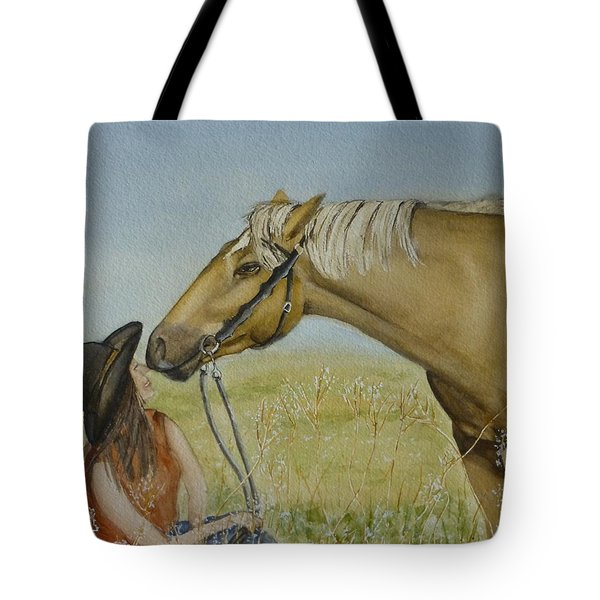 A Horses Gentle Touch Tote Bag by Kelly Mills