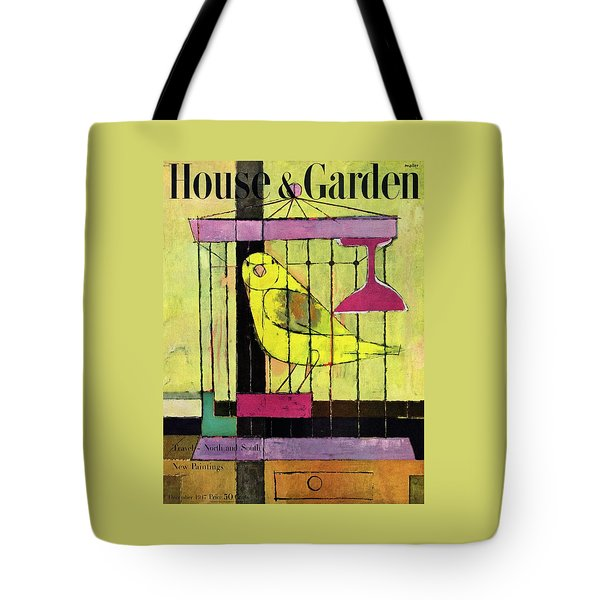 A House And Garden Cover Of A Bird In A Cage Tote Bag