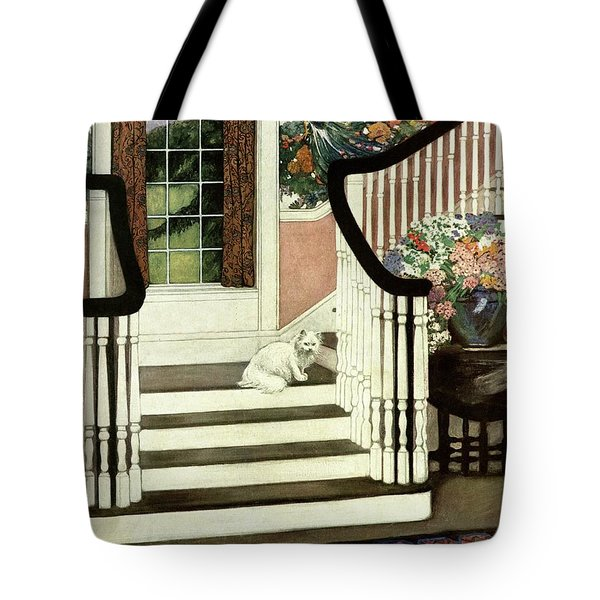 A House And Garden Cover Of A Cat On A Staircase Tote Bag