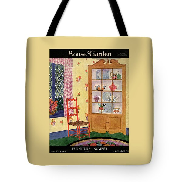 A House And Garden Cover Of A Chair By A Cabinet Tote Bag