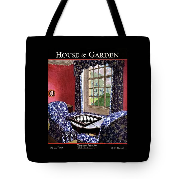 A House And Garden Cover Of A Country Living Room Tote Bag