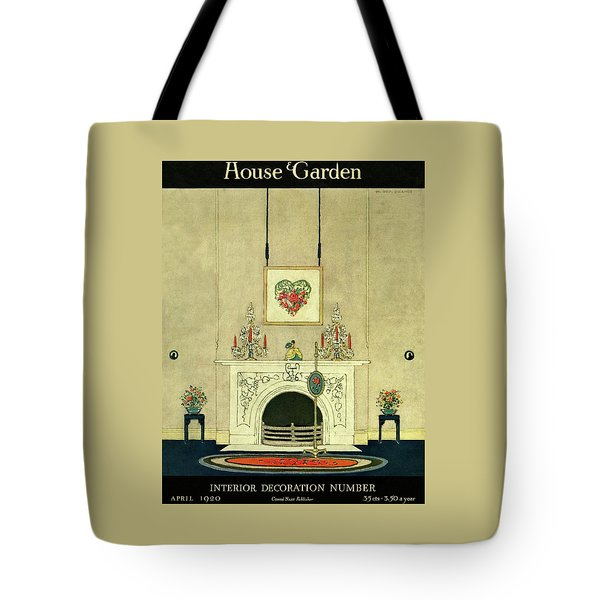 A House And Garden Cover Of A Fireplace Tote Bag
