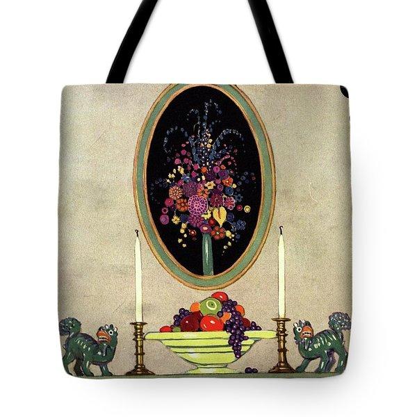 A House And Garden Cover Of A Mantelpiece Tote Bag