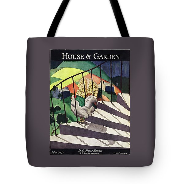 A House And Garden Cover Of A Rooster Tote Bag
