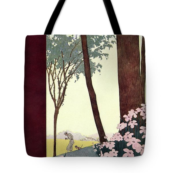 A House And Garden Cover Of A Rural Scene Tote Bag