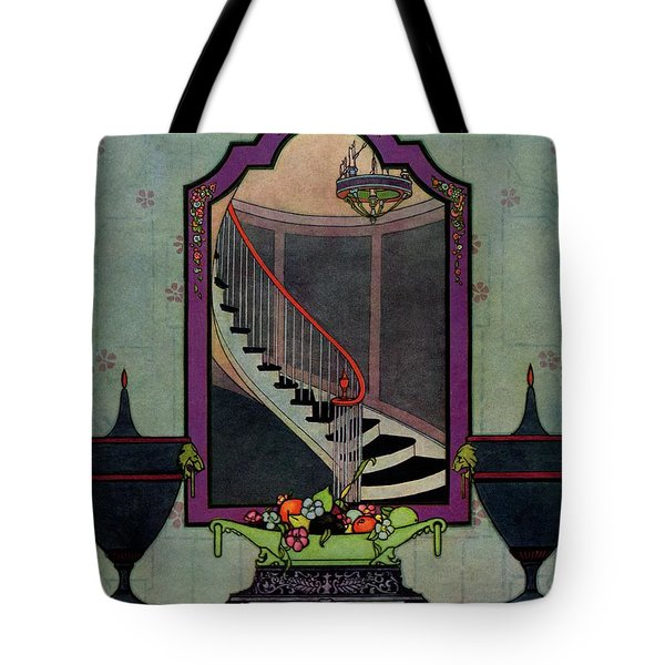 A House And Garden Cover Of A Staircase Tote Bag