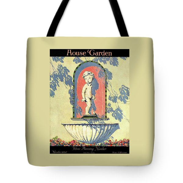 A House And Garden Cover Of A Statue Of A Boy Tote Bag
