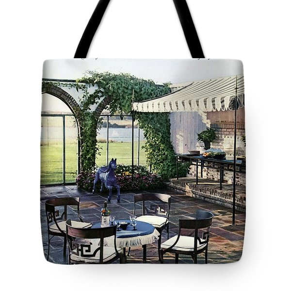 A House And Garden Cover Of A Terrace In East Tote Bag