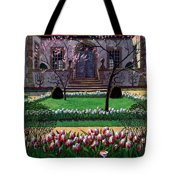 A House And Garden Cover Of A Tulip Garden Tote Bag