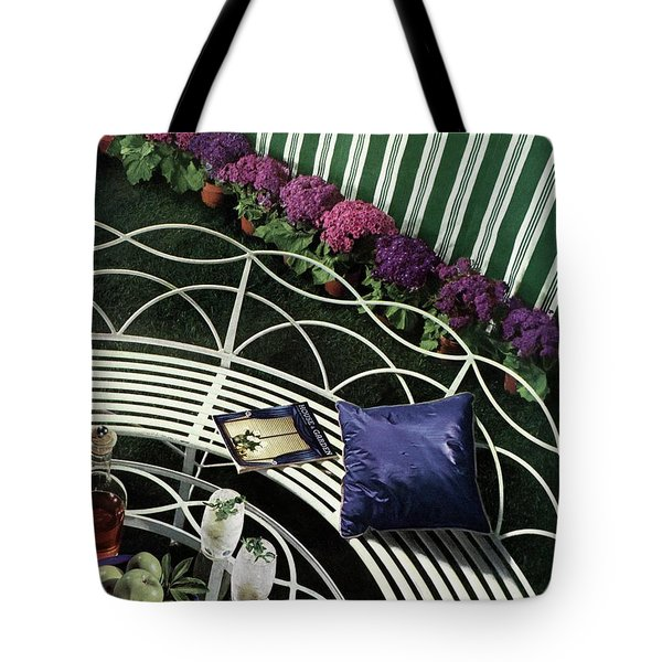 A House And Garden Cover Of A White Bench Tote Bag