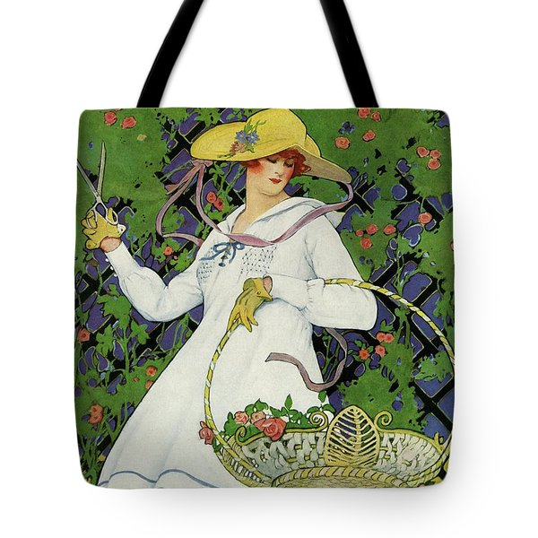 A House And Garden Cover Of A Woman Gardening Tote Bag