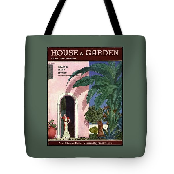 A House And Garden Cover Of A Woman In A Doorway Tote Bag