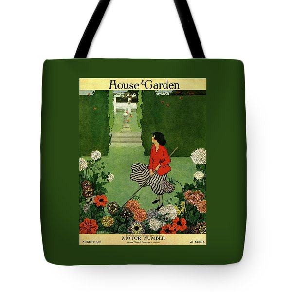 A House And Garden Cover Of A Woman Raking Leaves Tote Bag