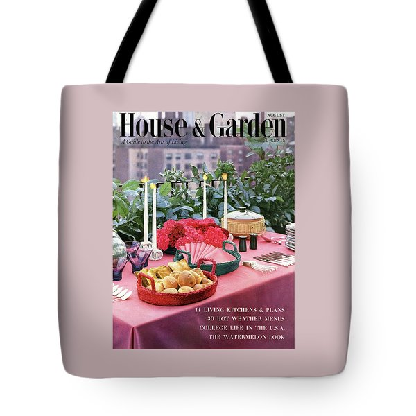 A House And Garden Cover Of Al Fresco Dining Tote Bag