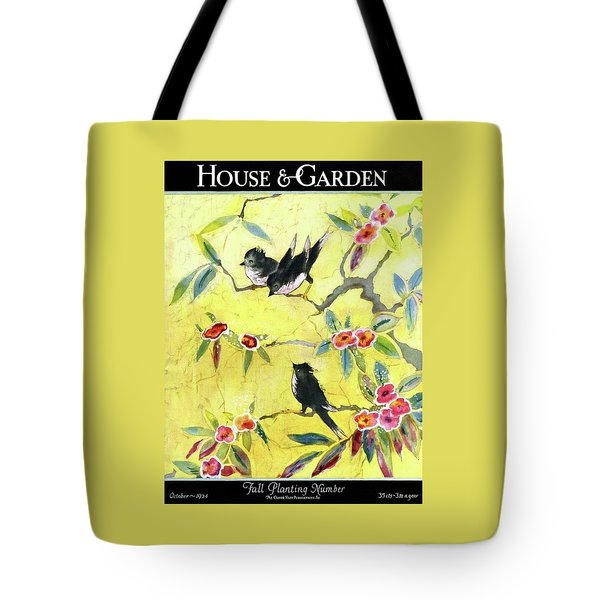 A House And Garden Cover Of Chickadees Tote Bag