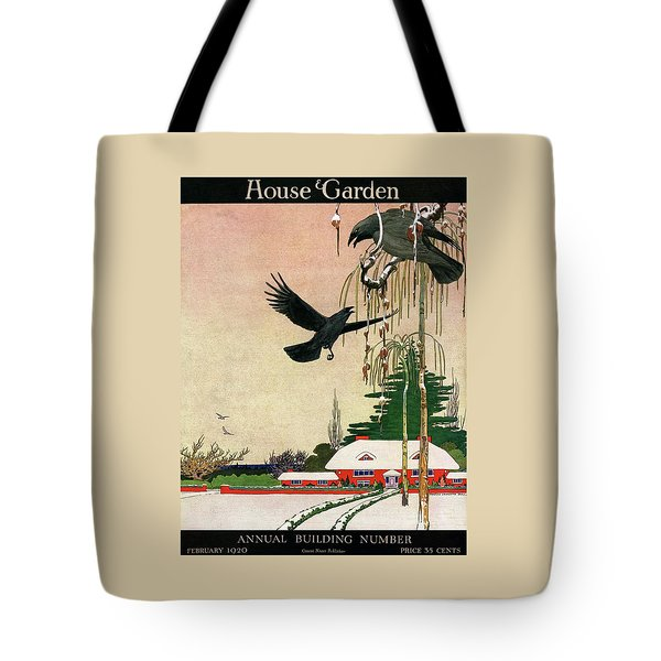 A House And Garden Cover Of Crows By A House Tote Bag
